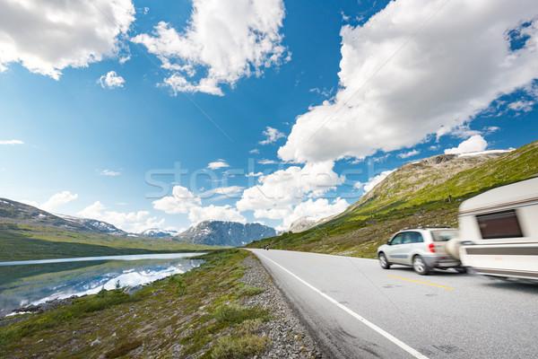 Carro montanhas Noruega europa automático viajar Foto stock © kyolshin