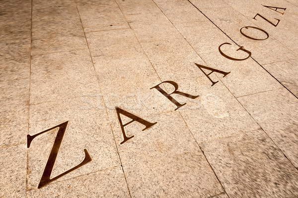 Name Zaragoza written on tiles in Spain, Europe. Stock photo © kyolshin