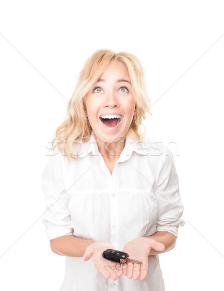 Stockfoto: Gelukkig · jonge · vrouw · witte · portret · mooie