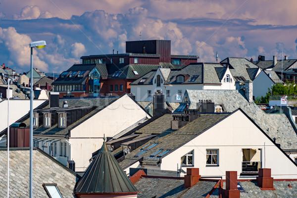 Tetők kilátás házak Norvégia Európa város Stock fotó © kyolshin