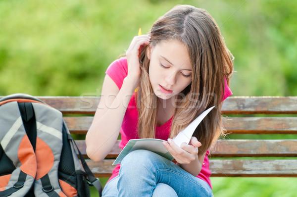 小さな 学生 少女 座って ベンチ 美しい ストックフォト © kyolshin