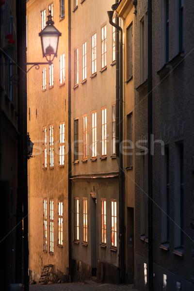 Sokak Stockholm İsveç gündoğumu gün batımı İskandinavya Stok fotoğraf © kyolshin