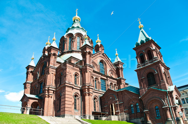 Ortodoxo iglesia Helsinki Finlandia vista cielo azul Foto stock © kyolshin