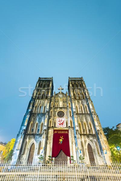 Facade of Saint Joseph Cathedral, Hanoi, Vietnam. Stock photo © kyolshin