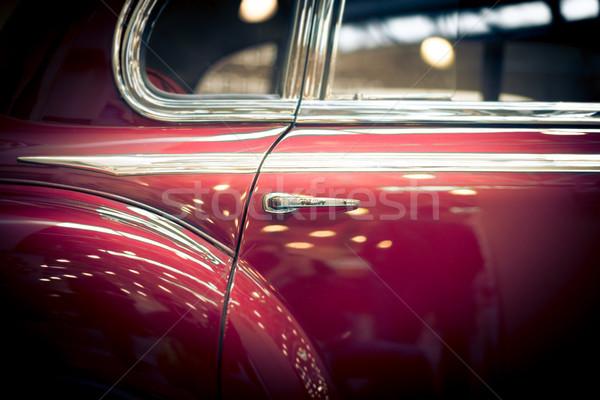 Piros hát ajtó retro autó ablak Stock fotó © kyolshin