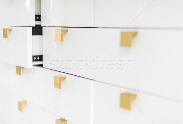 Weiß Schubladen golden geometrischen Stil Stock foto © kyolshin