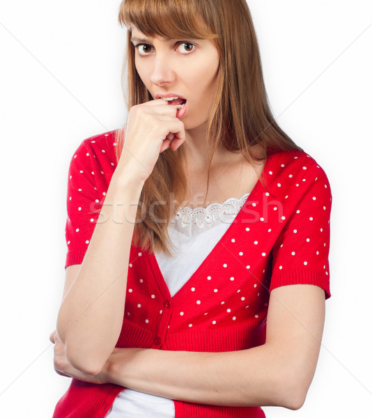 nervous young woman Stock photo © kyolshin