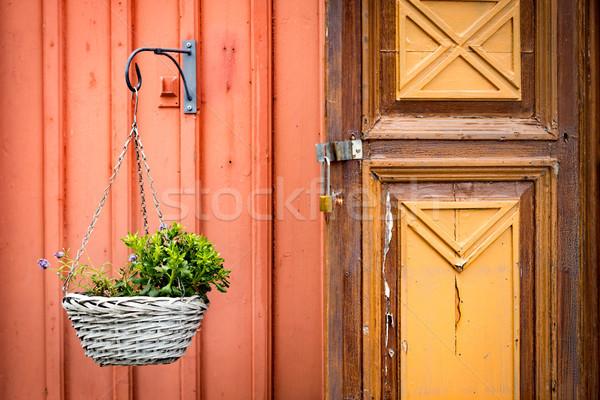 Eski ahşap kapı Avrupa geleneksel köy Stok fotoğraf © kyolshin