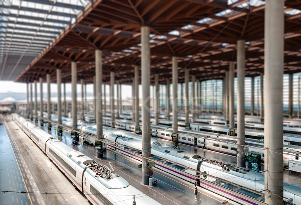 Madrid tren istasyonu modern istasyon Bina trenler Stok fotoğraf © kyolshin