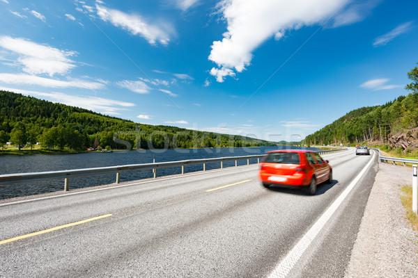 Autó út Norvégia Európa napos idő piros Stock fotó © kyolshin