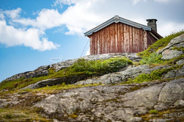 Casa montagna Norvegia Europa legno alto Foto d'archivio © kyolshin