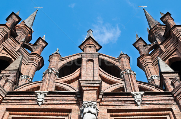 Católico iglesia cuento de hadas castillo como cielo azul Foto stock © kyolshin