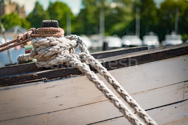 Halatlar tekne liman Stockholm İsveç detay Stok fotoğraf © kyolshin