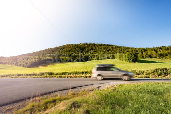 Autó út Norvégia Európa napos idő vidéki út Stock fotó © kyolshin