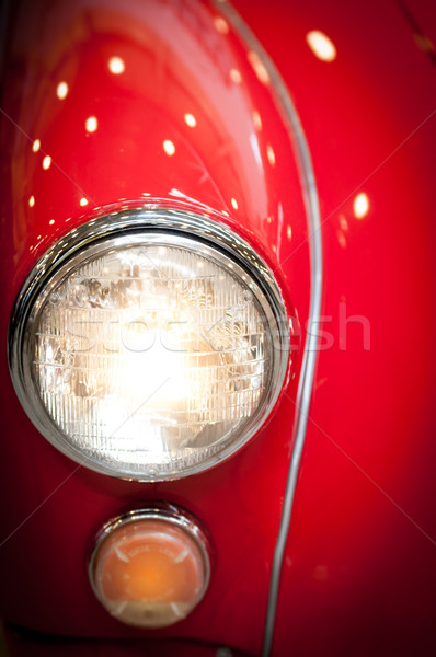 Close Up of Headlight of Red Classic Car Stock photo © kyolshin
