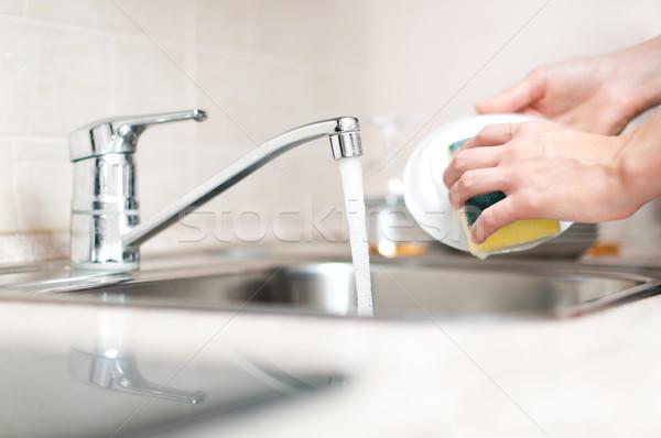 woman washing dishes Stock photo © kyolshin