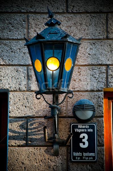 古い ランタン 壁 青 美しい レンガの壁 ストックフォト © kyolshin