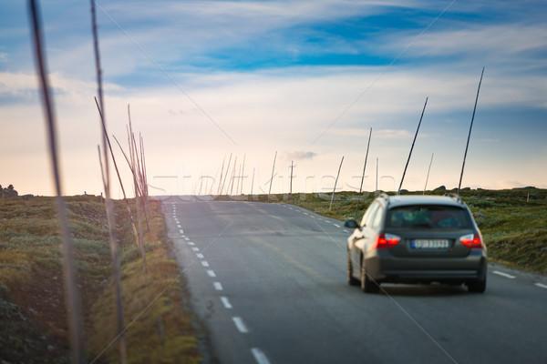 Araba yol Norveç Avrupa gün batımı seyahat Stok fotoğraf © kyolshin