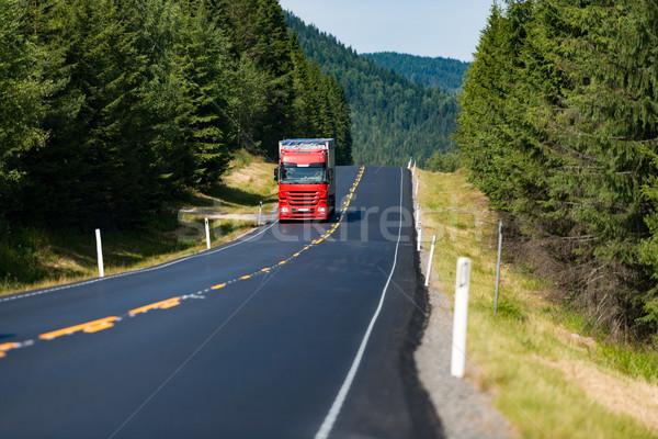 Kamyon yol Norveç Avrupa kırmızı Stok fotoğraf © kyolshin
