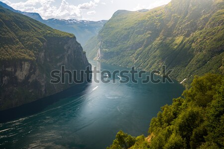 Ships in waters of fiord, Norway, Europe Stock photo © kyolshin