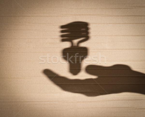 Floresan ampul insan eli gölge karton Stok fotoğraf © kyolshin