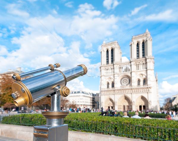 Telescoop toeristen lady Parijs kathedraal Stockfoto © kyolshin