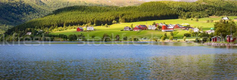 Norvégia vidék házak tó mezők tükröződés Stock fotó © kyolshin