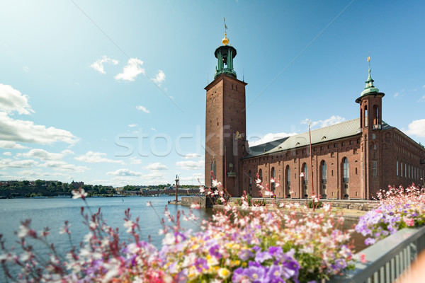 Stockholm város előcsarnok Svédország kilátás épület Stock fotó © kyolshin
