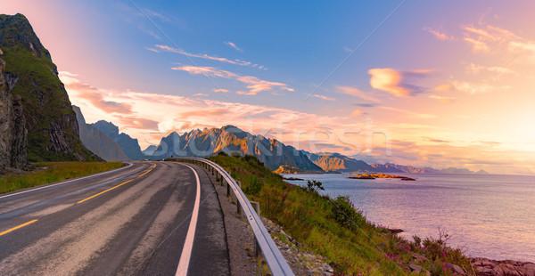 Vazio estrada Noruega europa pôr do sol viajar Foto stock © kyolshin