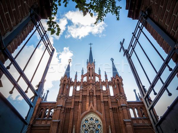 Abrir portão velho cristão igreja metálico Foto stock © kyolshin