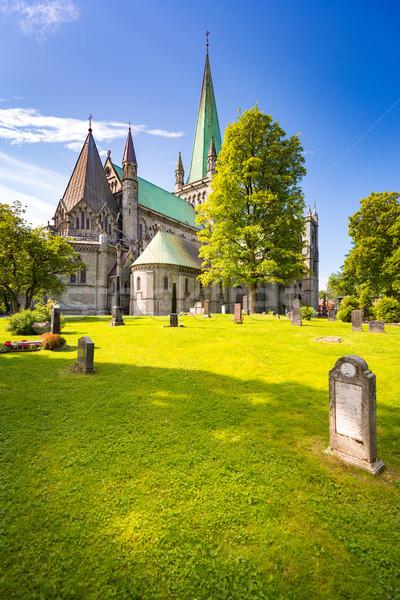 Vecchio cattedrale Norvegia Europa viaggio blu Foto d'archivio © kyolshin
