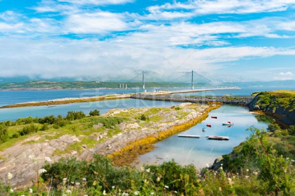 Panoráma autó híd Norvégia Európa autó Stock fotó © kyolshin