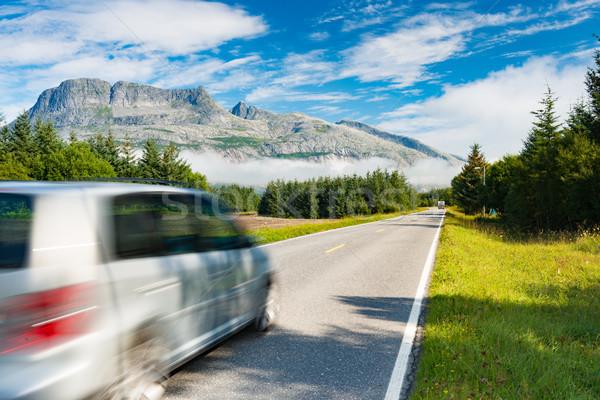 Car on road in Norway, Europe Stock photo © kyolshin