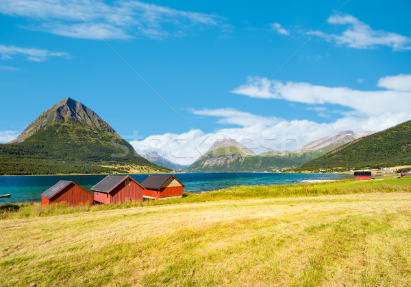 Barns in Norway, Europe. Mountains, river, sky Stock photo © kyolshin