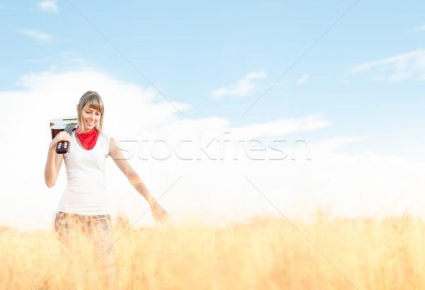 Mulher guitarra em pé prado outono bela mulher Foto stock © kyolshin