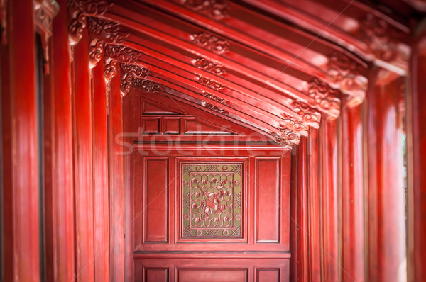 Red wooden hall in Citadel of Hue, Vietnam, Asia. Stock photo © kyolshin