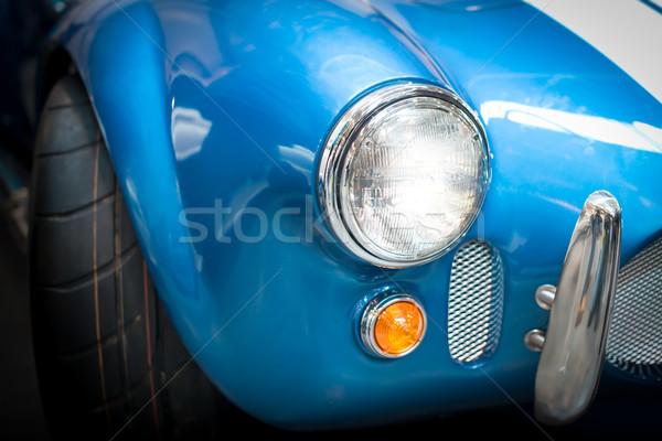 Fényszóró részlet kék klasszikus autó közelkép Stock fotó © kyolshin