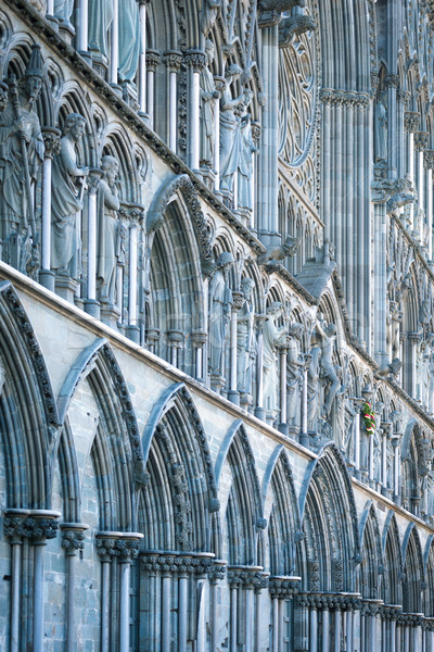 Facade of old cathedral in Trondheim, Norway. Stock photo © kyolshin