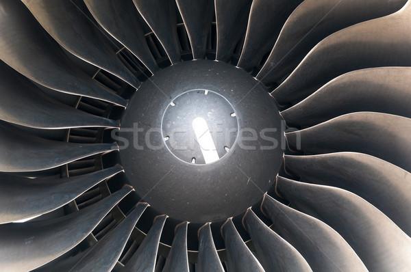 Modern plane engine turbine blades. Stock photo © kyolshin