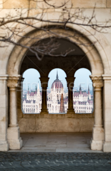 Ver parlamento edifício Budapeste Hungria pescador Foto stock © kyolshin