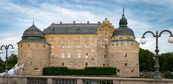 öreg középkori kastély Svédország Skandinávia Európa Stock fotó © kyolshin