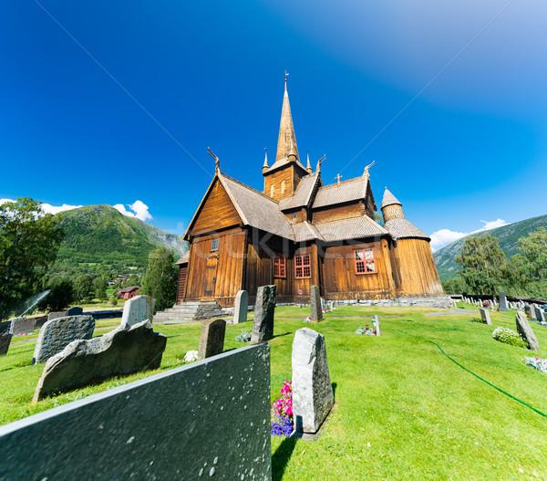 Kilise Norveç mavi bulutlu gökyüzü Stok fotoğraf © kyolshin