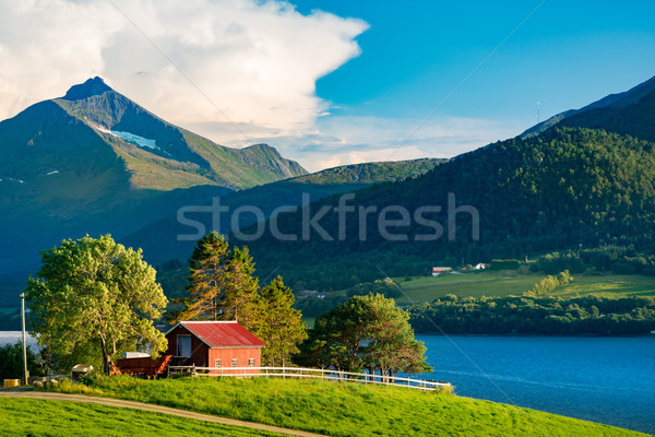 Barn in Norway, Europe. Mountains and river. Stock photo © kyolshin
