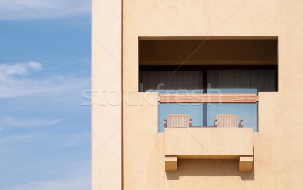 Hotel balkon moderne blues hemel venster Stockfoto © kyolshin