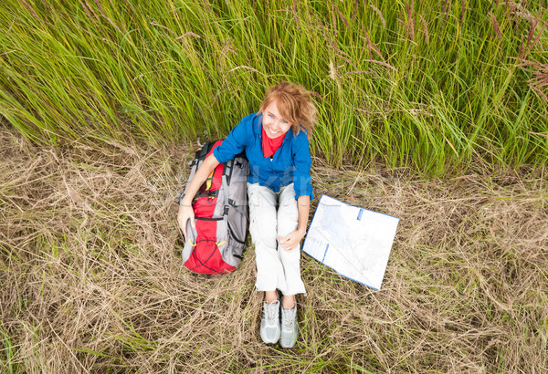 Young tourist woman resting in field. Stock photo © kyolshin