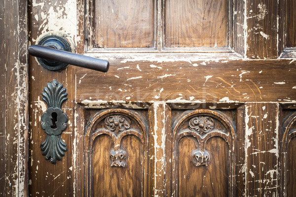 Old shabby door with metal door handle. Stock photo © kyolshin