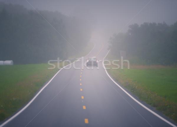 Autó ködös út Norvégia Európa autó Stock fotó © kyolshin