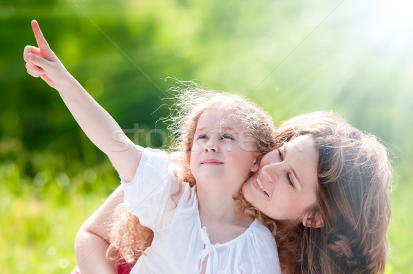 Güzel küçük kız anne küçük mutlu kız Stok fotoğraf © kyolshin