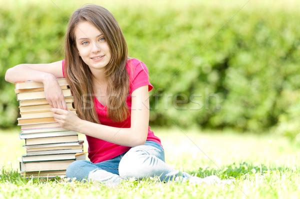 Stockfoto: Gelukkig · student · meisje · vergadering · boeken
