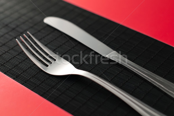 knife and fork on the tablee Stock photo © kyolshin